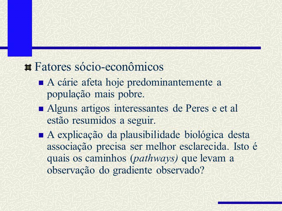 Fatores sócio-econômicos A cárie afeta hoje predominantemente a população mais pobre. Alguns artigos interessantes de Peres e et al estão resumidos a