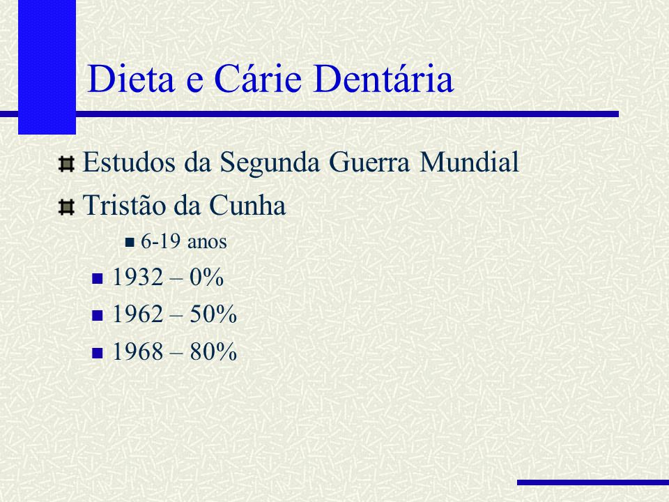 Dieta e Cárie Dentária Estudos da Segunda Guerra Mundial Tristão da Cunha 6-19 anos 1932 – 0% 1962 – 50% 1968 – 80%