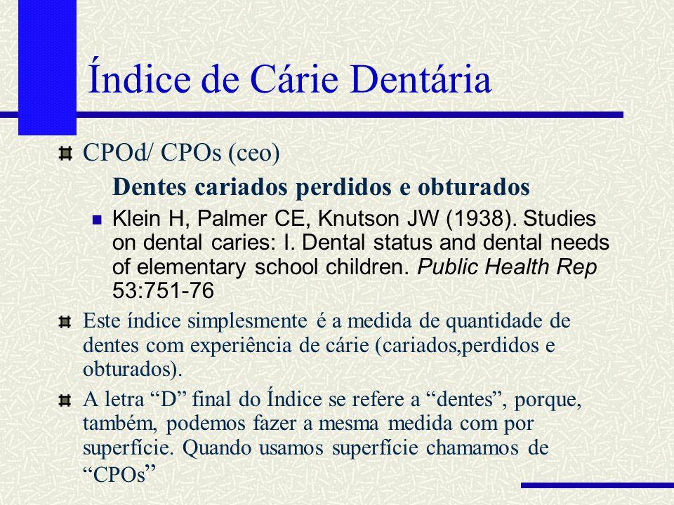 Índice de Cárie Dentária CPOd/ CPOs (ceo) Dentes cariados perdidos e obturados Klein H, Palmer CE, Knutson JW (1938). Studies on dental caries: I. Den