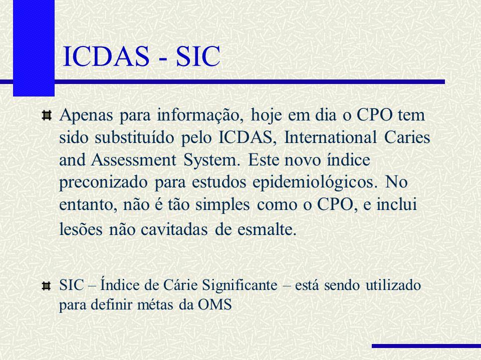 ICDAS - SIC Apenas para informação, hoje em dia o CPO tem sido substituído pelo ICDAS, International Caries and Assessment System. Este novo índice pr