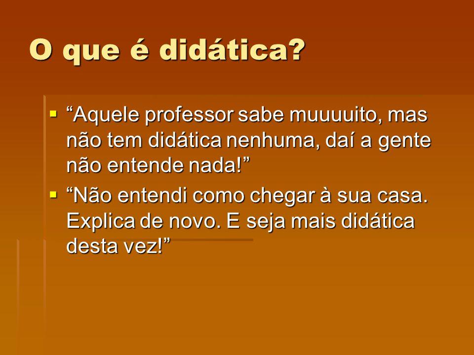 O que é didática? Aquele professor sabe muuuuito, mas não tem didática nenhuma, daí a gente não entende nada! Aquele professor sabe muuuuito, mas não
