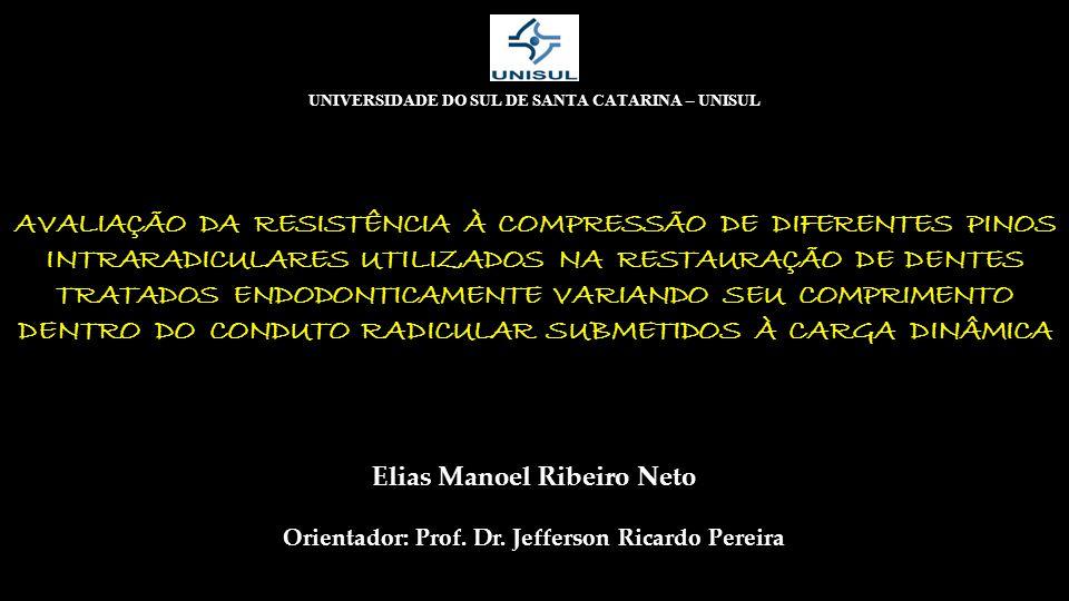 AVALIAÇÃO DA RESISTÊNCIA À COMPRESSÃO DE DIFERENTES PINOS INTRARADICULARES UTILIZADOS NA RESTAURAÇÃO DE DENTES TRATADOS ENDODONTICAMENTE VARIANDO SEU COMPRIMENTO DENTRO DO CONDUTO RADICULAR SUBMETIDOS À CARGA DINÂMICA UNIVERSIDADE DO SUL DE SANTA CATARINA – UNISUL Orientador: Prof.