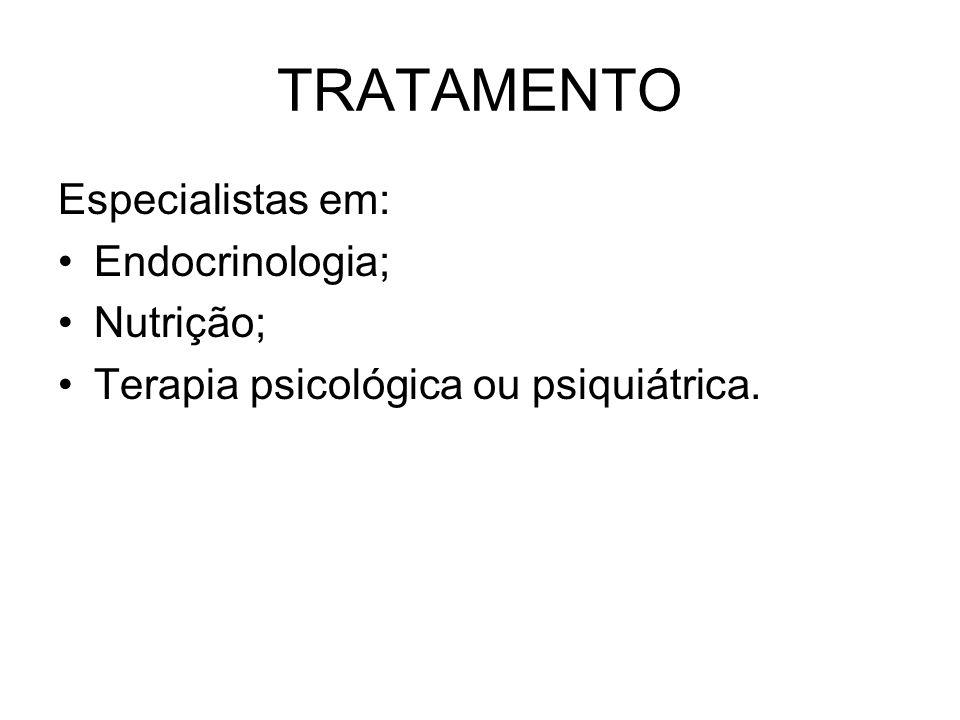 TRATAMENTO Especialistas em: Endocrinologia; Nutrição; Terapia psicológica ou psiquiátrica.