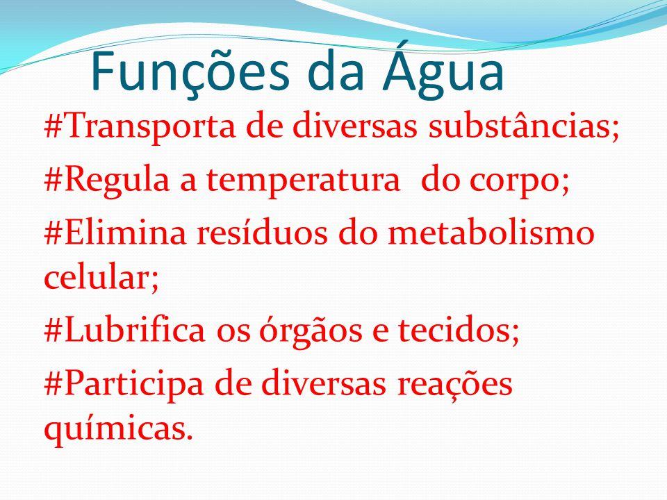 Funções da Água #Transporta de diversas substâncias; #Regula a temperatura do corpo; #Elimina resíduos do metabolismo celular; #Lubrifica os órgãos e
