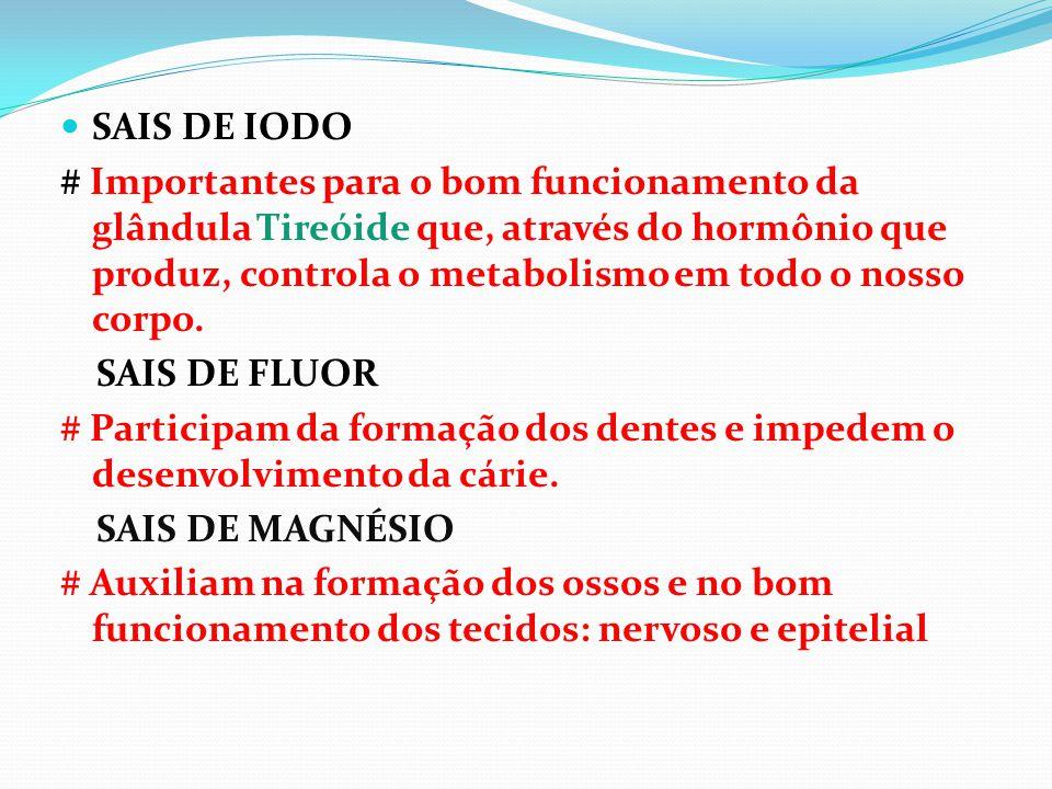 SAIS DE IODO # Importantes para o bom funcionamento da glândula Tireóide que, através do hormônio que produz, controla o metabolismo em todo o nosso c