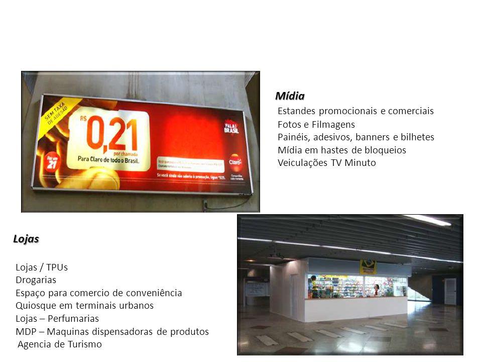 Mídia Estandes promocionais e comerciais Fotos e Filmagens Painéis, adesivos, banners e bilhetes Mídia em hastes de bloqueios Veiculações TV Minuto Lo