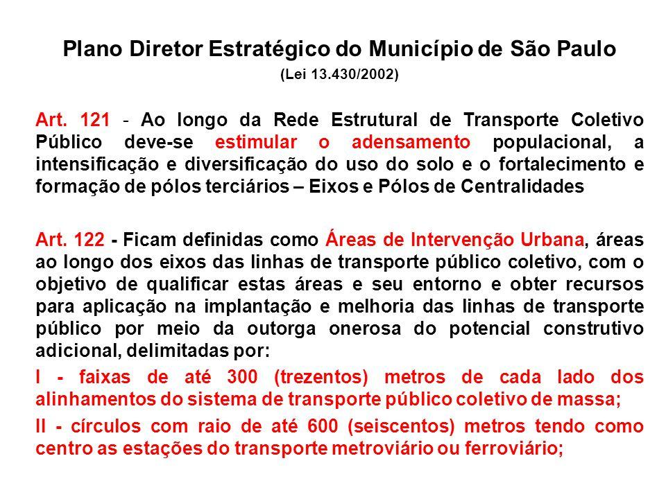 Plano Diretor Estratégico do Município de São Paulo (Lei 13.430/2002) Art. 121 - Ao longo da Rede Estrutural de Transporte Coletivo Público deve-se es