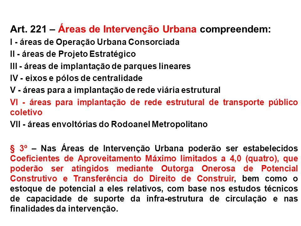 Art. 221 – Áreas de Intervenção Urbana compreendem: I - áreas de Operação Urbana Consorciada II - áreas de Projeto Estratégico III - áreas de implanta