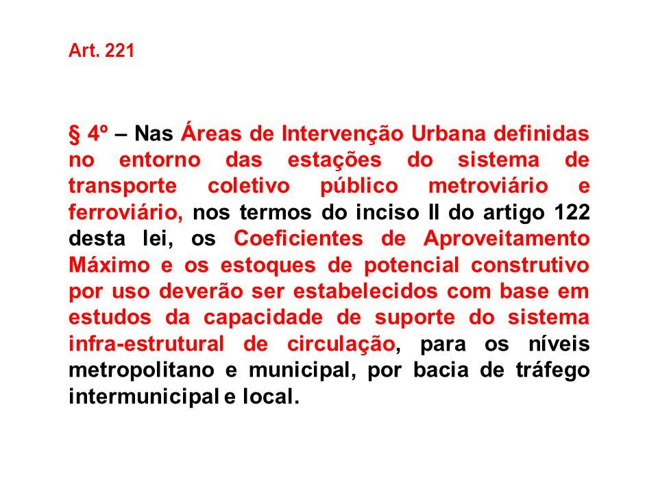 Art. 221 § 4º – Nas Áreas de Intervenção Urbana definidas no entorno das estações do sistema de transporte coletivo público metroviário e ferroviário,