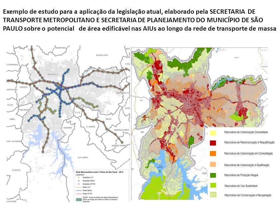 Exemplo de estudo para a aplicação da legislação atual, elaborado pela SECRETARIA DE TRANSPORTE METROPOLITANO E SECRETARIA DE PLANEJAMENTO DO MUNICÍPI