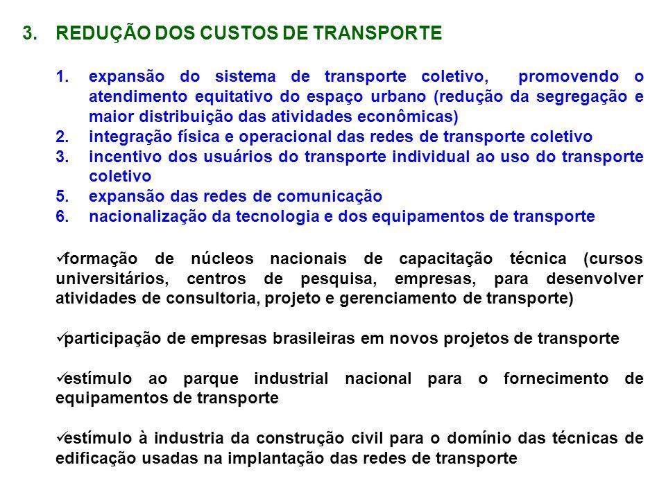 3.REDUÇÃO DOS CUSTOS DE TRANSPORTE 1.expansão do sistema de transporte coletivo, promovendo o atendimento equitativo do espaço urbano (redução da segr