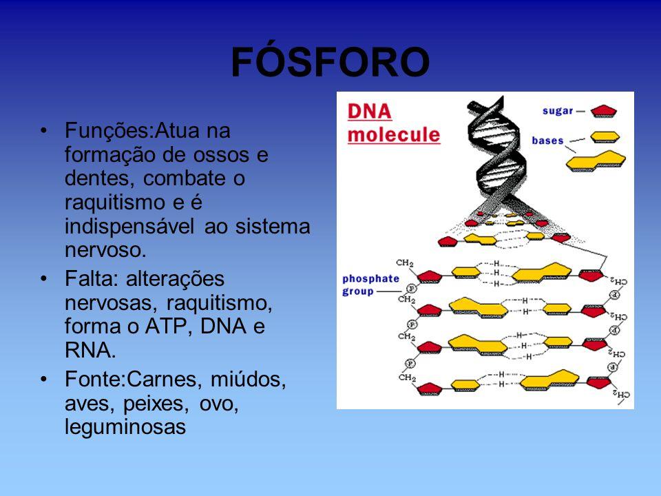 IODO Funções: faz funcionar a glândula tireóide.Falta: bócio; obesidade, cansaço.