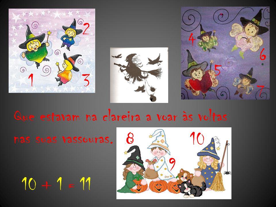 As 11 feiticeirinhas estavam a começar a divertir-se muito, mas pararam de repente pois ouviram soar as 12 badaladas no sino da aldeia.