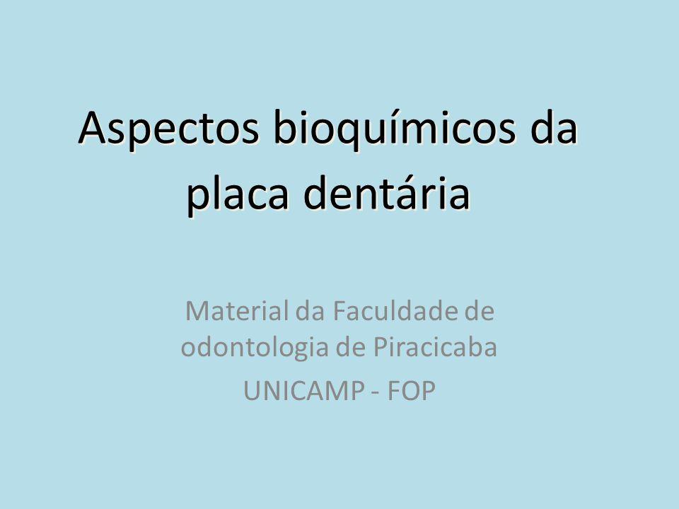 Aspectos bioquímicos da placa dentária Material da Faculdade de odontologia de Piracicaba UNICAMP - FOP