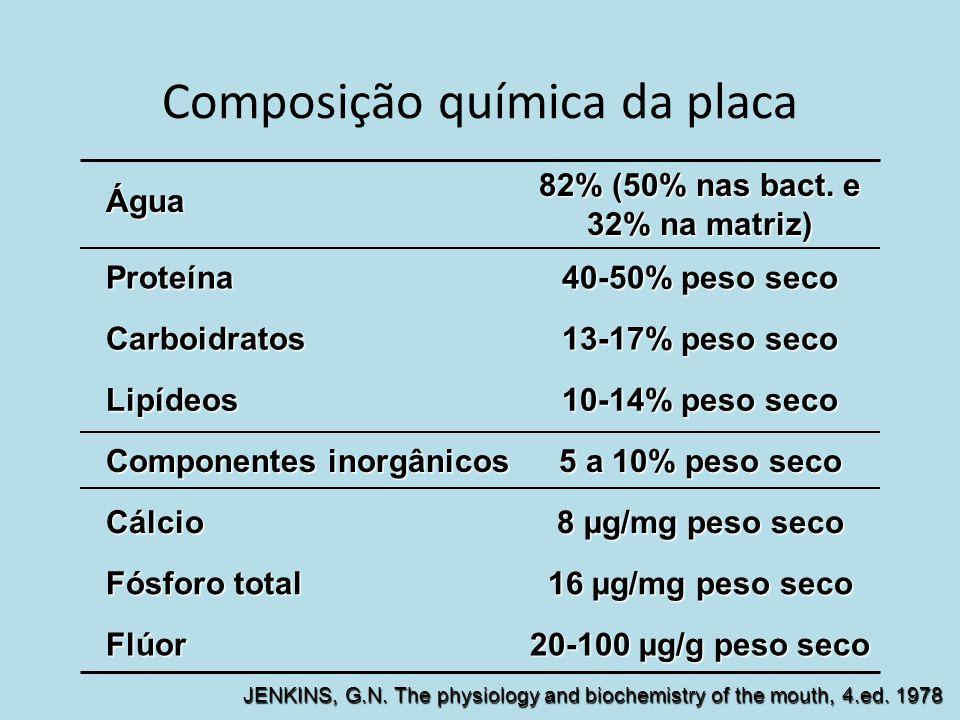 Composição química da placa Água 82% (50% nas bact. e 32% na matriz) Proteína 40-50% peso seco Carboidratos 13-17% peso seco Lipídeos 10-14% peso seco