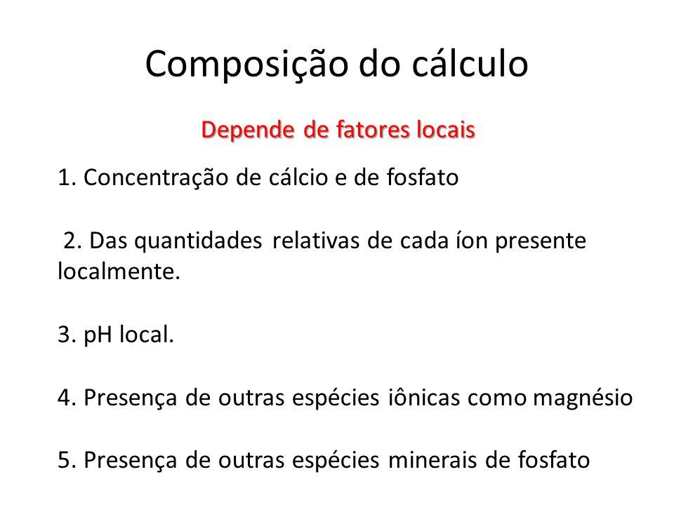 Composição do cálculo Depende de fatores locais 1. Concentração de cálcio e de fosfato 2. Das quantidades relativas de cada íon presente localmente. 3