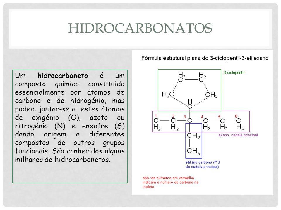 HIDROCARBONATOS Um hidrocarboneto é um composto químico constituído essencialmente por átomos de carbono e de hidrogénio, mas podem juntar-se a estes átomos de oxigénio (O), azoto ou nitrogénio (N) e enxofre (S) dando origem a diferentes compostos de outros grupos funcionais.