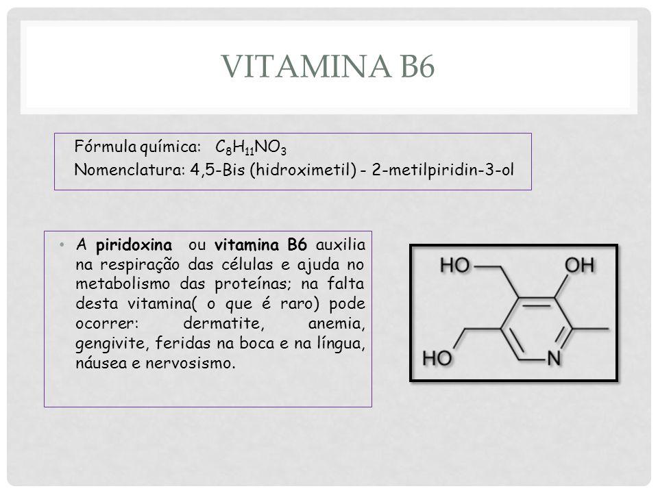VITAMINA B6 A piridoxina ou vitamina B6 auxilia na respiração das células e ajuda no metabolismo das proteínas; na falta desta vitamina( o que é raro) pode ocorrer: dermatite, anemia, gengivite, feridas na boca e na língua, náusea e nervosismo.