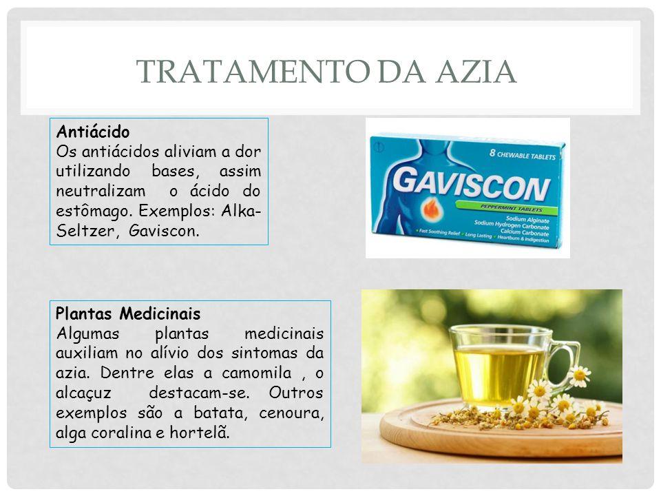 TRATAMENTO DA AZIA Antiácido Os antiácidos aliviam a dor utilizando bases, assim neutralizam o ácido do estômago.