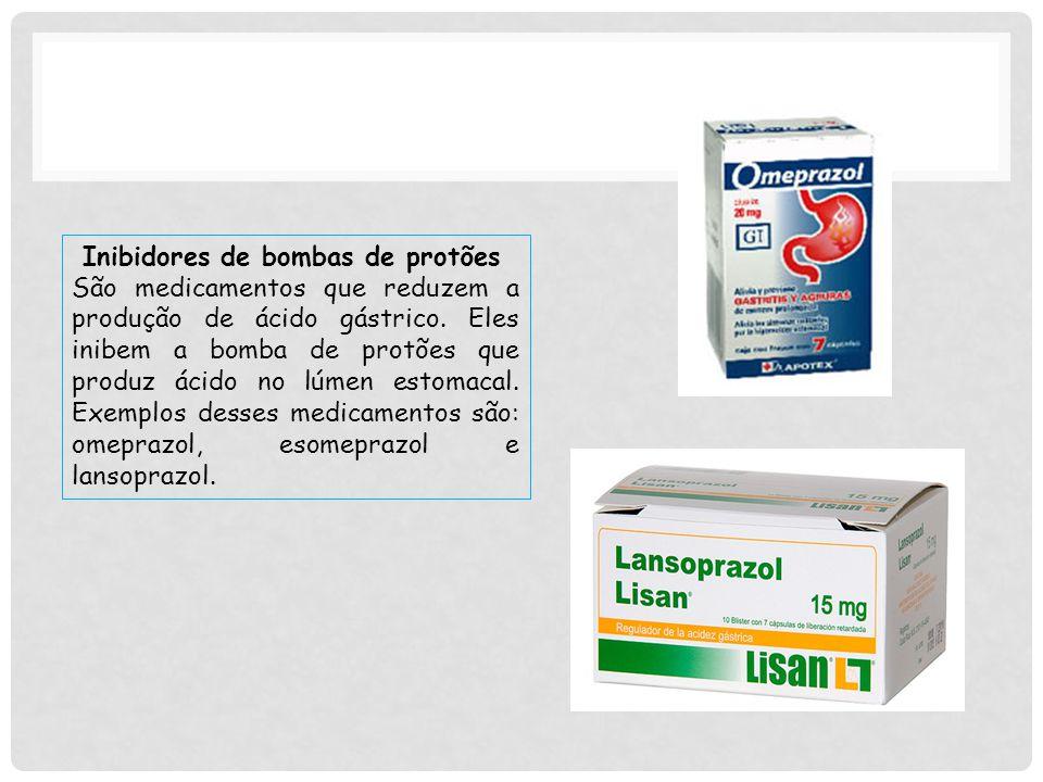 Inibidores de bombas de protões São medicamentos que reduzem a produção de ácido gástrico.