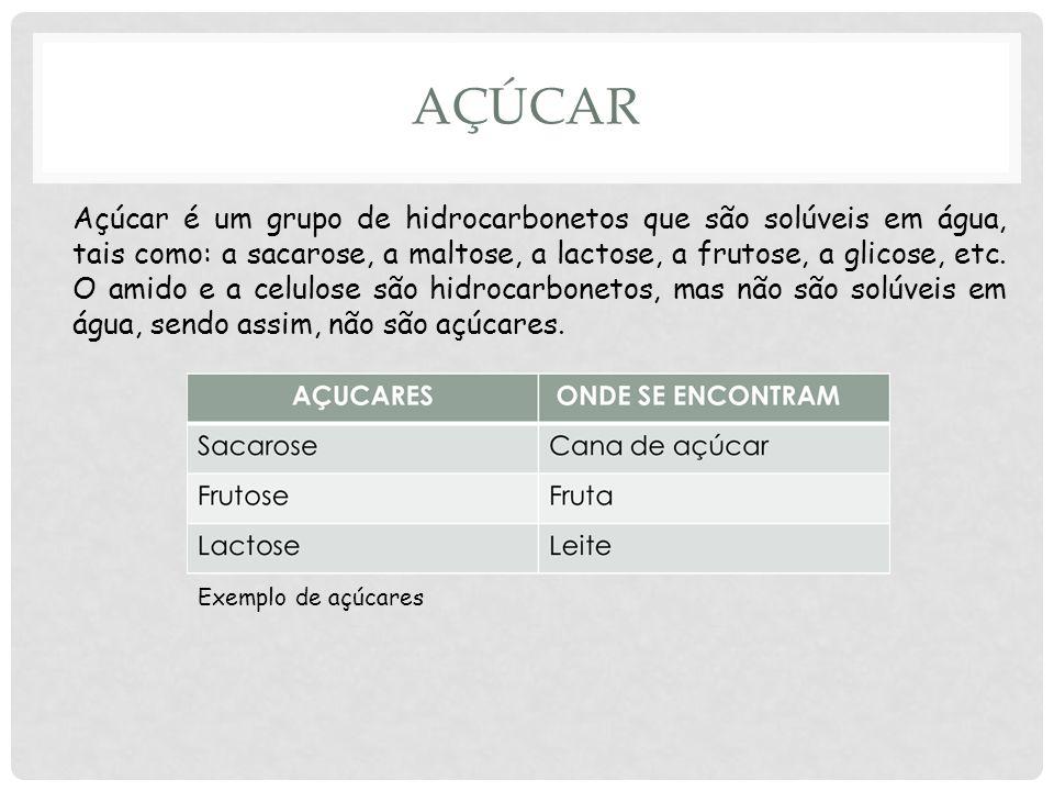 AÇÚCAR Açúcar é um grupo de hidrocarbonetos que são solúveis em água, tais como: a sacarose, a maltose, a lactose, a frutose, a glicose, etc.
