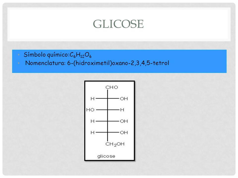 GLICOSE Símbolo químico:C 6 H 12 O 6 Nomenclatura: 6-(hidroximetil)oxano-2,3,4,5-tetrol