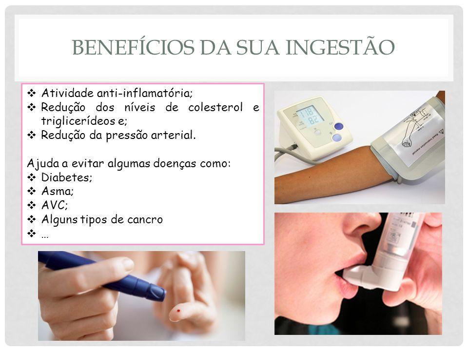 BENEFÍCIOS DA SUA INGESTÃO Atividade anti-inflamatória; Redução dos níveis de colesterol e triglicerídeos e; Redução da pressão arterial.
