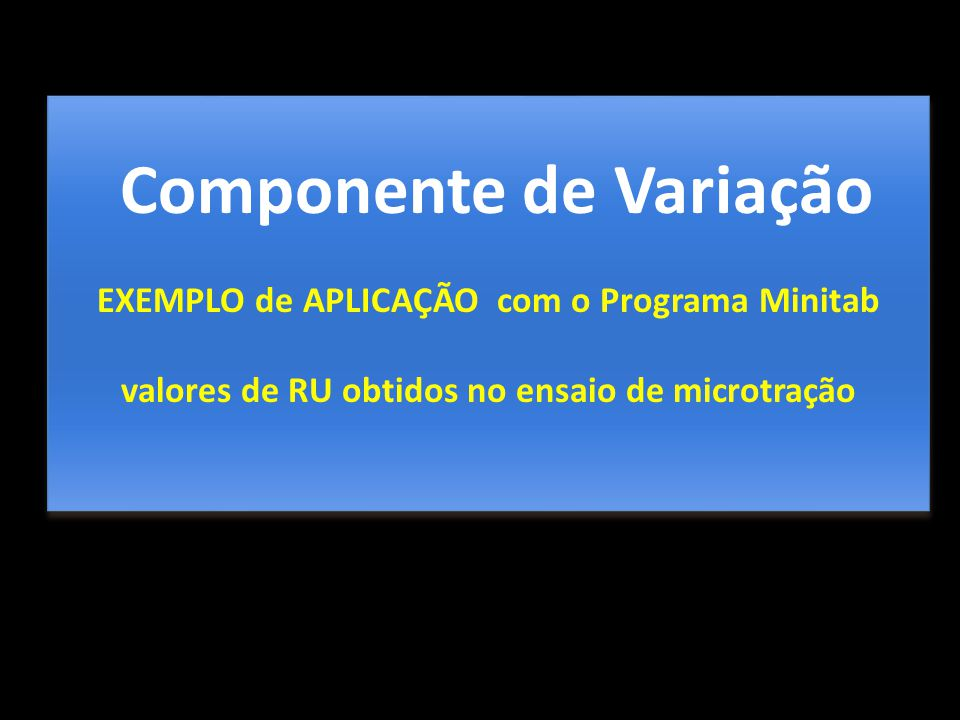 Componente de Variação EXEMPLO de APLICAÇÃO com o Programa Minitab valores de RU obtidos no ensaio de microtração Componente de Variação EXEMPLO de AP