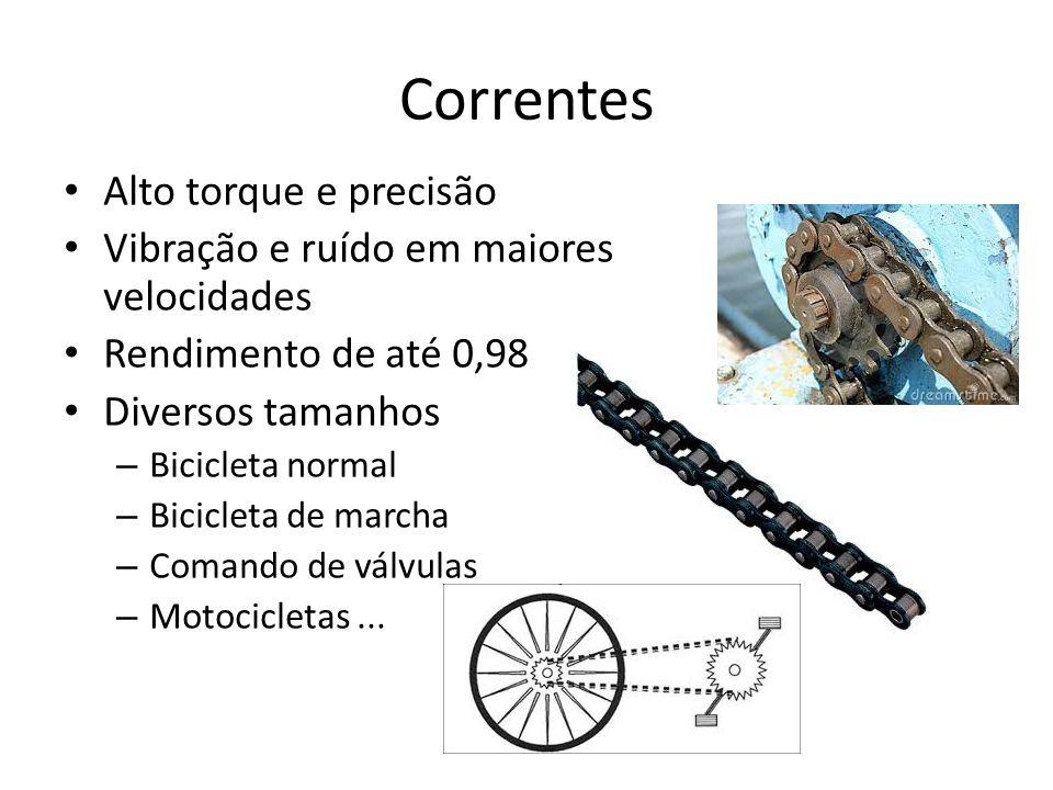 Correntes Alto torque e precisão Vibração e ruído em maiores velocidades Rendimento de até 0,98 Diversos tamanhos – Bicicleta normal – Bicicleta de marcha – Comando de válvulas – Motocicletas...