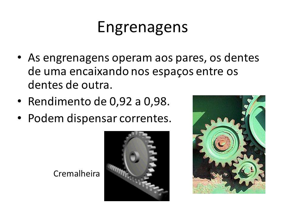 Engrenagens As engrenagens operam aos pares, os dentes de uma encaixando nos espaços entre os dentes de outra.