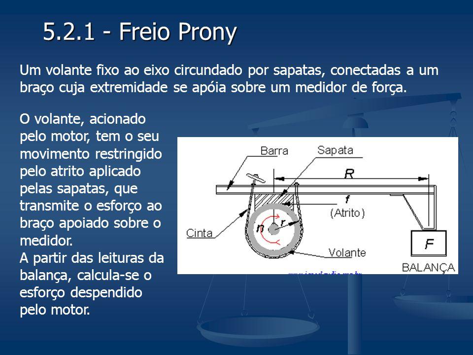 5.2.1 - Freio Prony Um volante fixo ao eixo circundado por sapatas, conectadas a um braço cuja extremidade se apóia sobre um medidor de força. O volan