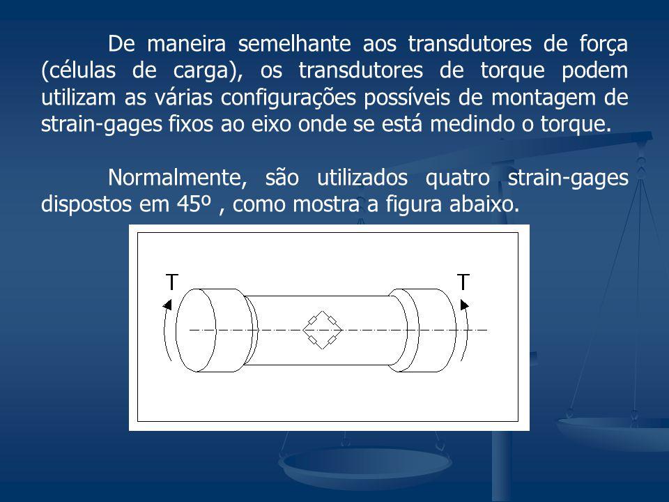 De maneira semelhante aos transdutores de força (células de carga), os transdutores de torque podem utilizam as várias configurações possíveis de mont