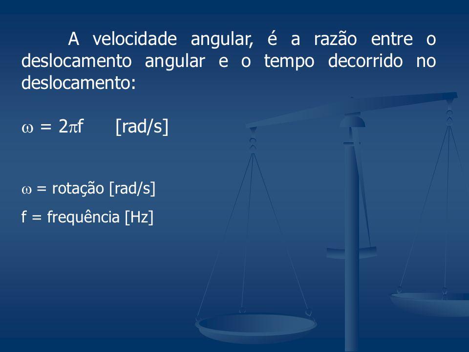 A velocidade angular, é a razão entre o deslocamento angular e o tempo decorrido no deslocamento: = 2 f[rad/s] = rotação [rad/s] f = frequência [Hz]