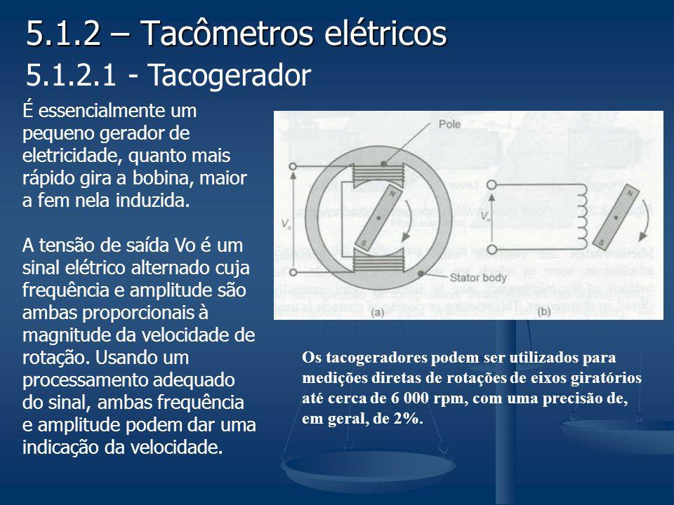 5.1.2 – Tacômetros elétricos 5.1.2.1 - Tacogerador É essencialmente um pequeno gerador de eletricidade, quanto mais rápido gira a bobina, maior a fem