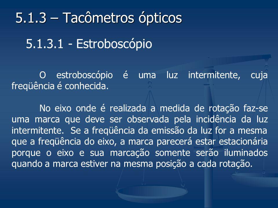 5.1.3 – Tacômetros ópticos 5.1.3.1 - Estroboscópio O estroboscópio é uma luz intermitente, cuja freqüência é conhecida. No eixo onde é realizada a med
