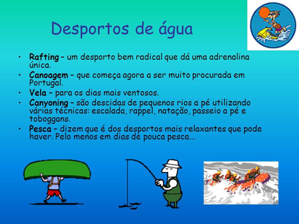 Desportos de água Rafting – um desporto bem radical que dá uma adrenalina única. Canoagem – que começa agora a ser muito procurada em Portugal. Vela –