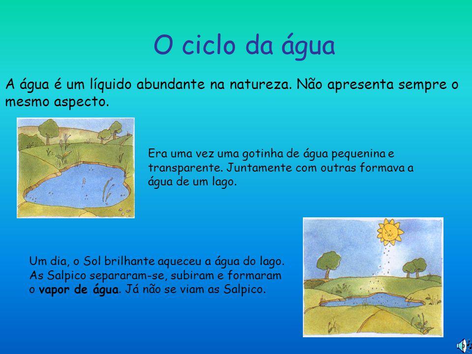 O ciclo da água A água é um líquido abundante na natureza. Não apresenta sempre o mesmo aspecto. Era uma vez uma gotinha de água pequenina e transpare