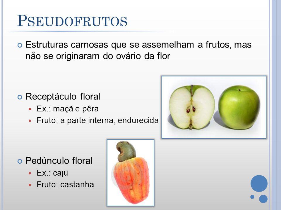 P SEUDOFRUTOS Estruturas carnosas que se assemelham a frutos, mas não se originaram do ovário da flor Receptáculo floral Ex.: maçã e pêra Fruto: a par