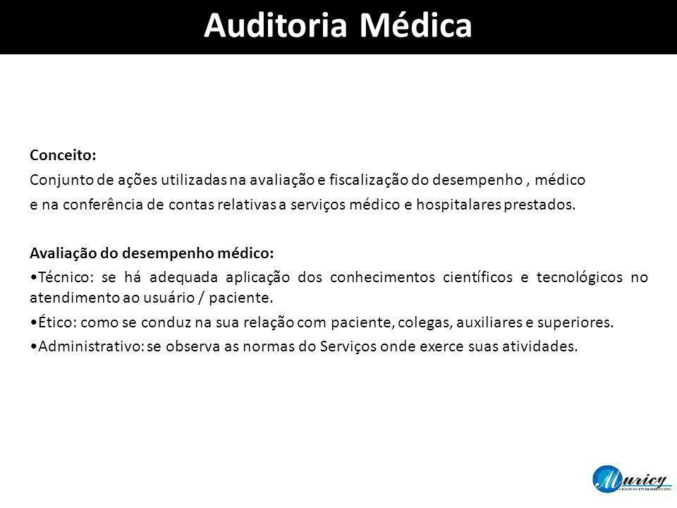 Conceito: Conjunto de ações utilizadas na avaliação e fiscalização do desempenho, médico e na conferência de contas relativas a serviços médico e hosp