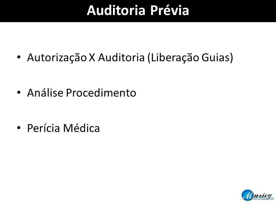 Auditoria Prévia Autorização X Auditoria (Liberação Guias) Análise Procedimento Perícia Médica