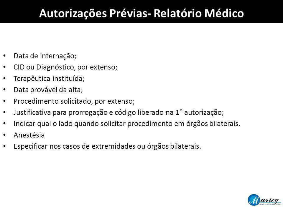 Data de internação; CID ou Diagnóstico, por extenso; Terapêutica instituída; Data provável da alta; Procedimento solicitado, por extenso; Justificativ