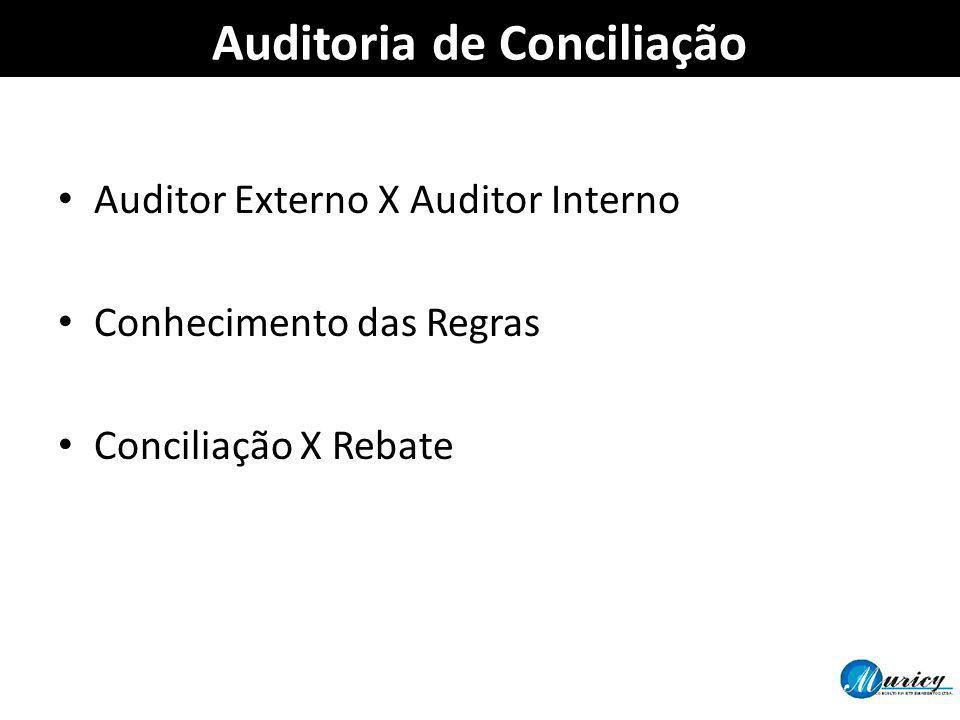 Auditoria de Conciliação Auditor Externo X Auditor Interno Conhecimento das Regras Conciliação X Rebate