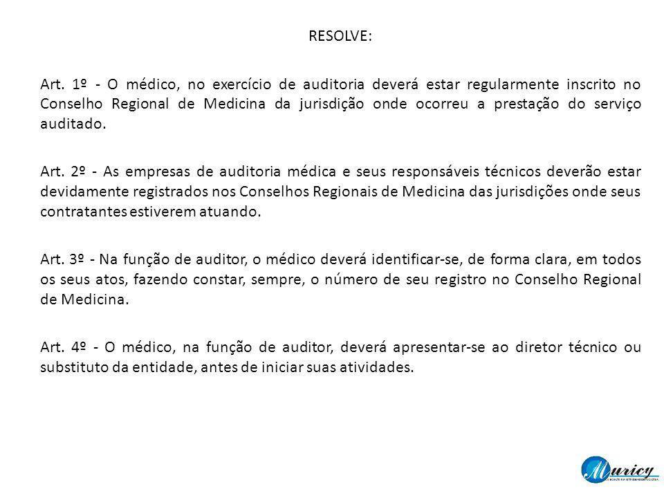 RESOLVE: Art. 1º - O médico, no exercício de auditoria deverá estar regularmente inscrito no Conselho Regional de Medicina da jurisdição onde ocorreu