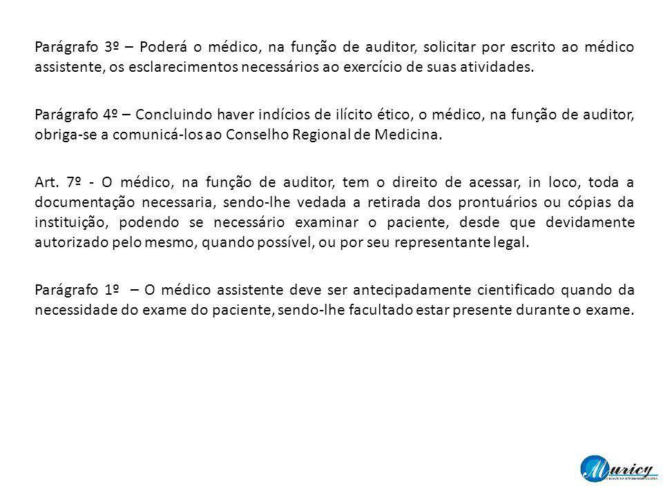 Parágrafo 3º – Poderá o médico, na função de auditor, solicitar por escrito ao médico assistente, os esclarecimentos necessários ao exercício de suas
