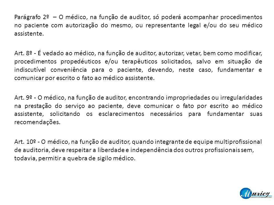 Parágrafo 2º – O médico, na função de auditor, só poderá acompanhar procedimentos no paciente com autorização do mesmo, ou representante legal e/ou do