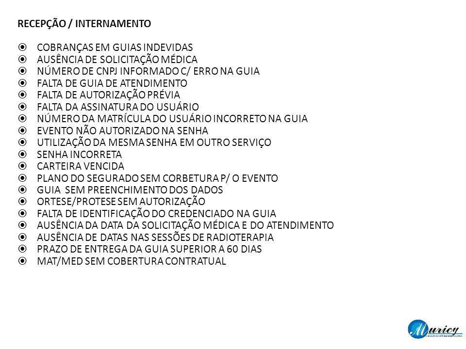 RECEPÇÃO / INTERNAMENTO COBRANÇAS EM GUIAS INDEVIDAS AUSÊNCIA DE SOLICITAÇÃO MÉDICA NÚMERO DE CNPJ INFORMADO C/ ERRO NA GUIA FALTA DE GUIA DE ATENDIME