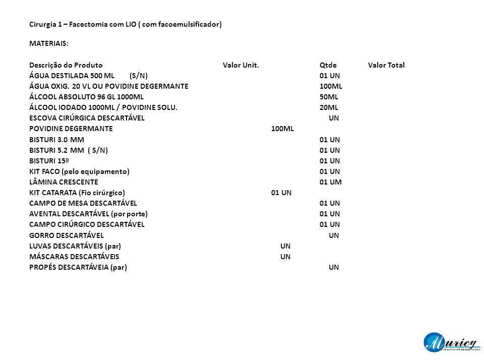 Cirurgia 1 – Facectomia com LIO ( com facoemulsificador) MATERIAIS: Descrição do Produto Valor Unit.QtdeValor Total ÁGUA DESTILADA 500 ML (S/N)01 UN Á