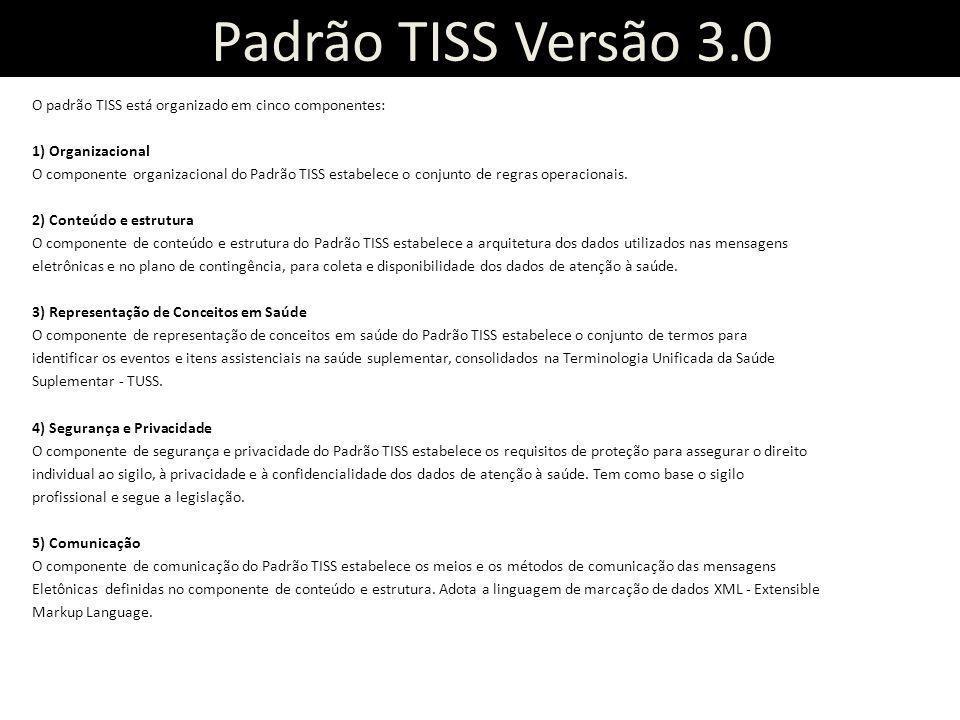 Padrão TISS Versão 3.0 O padrão TISS está organizado em cinco componentes: 1) Organizacional O componente organizacional do Padrão TISS estabelece o c
