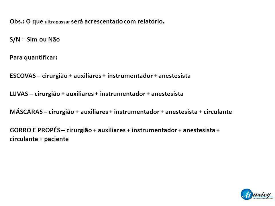 Obs.: O que ultrapassar será acrescentado com relatório. S/N = Sim ou Não Para quantificar: ESCOVAS – cirurgião + auxiliares + instrumentador + aneste