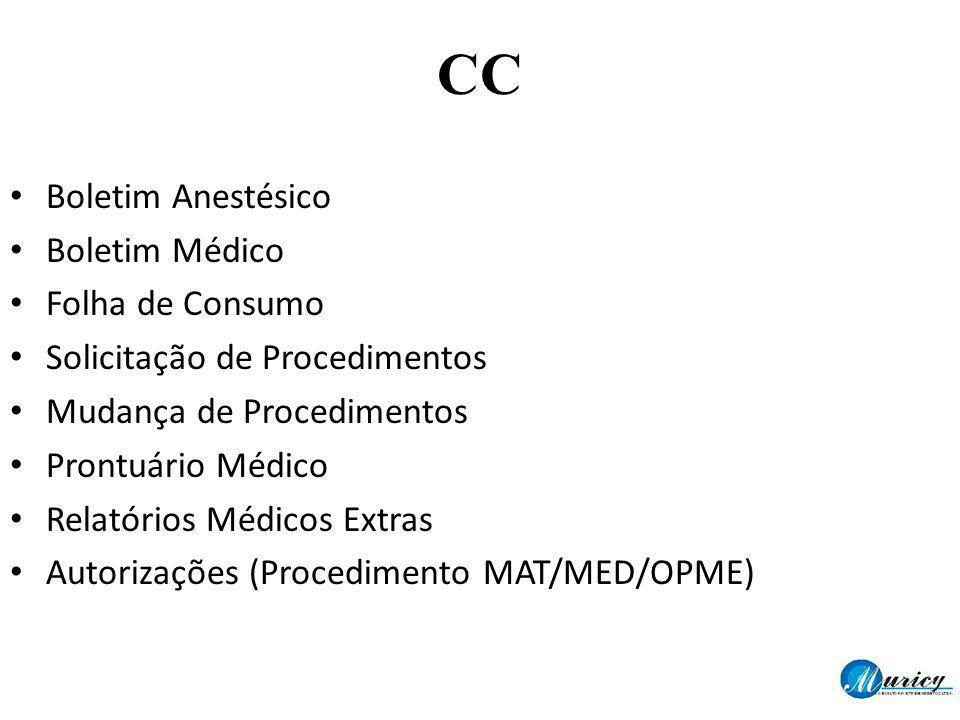 Boletim Anestésico Boletim Médico Folha de Consumo Solicitação de Procedimentos Mudança de Procedimentos Prontuário Médico Relatórios Médicos Extras A